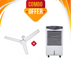 VEGO ABS PLASTIC ATOM AND EVAPORATIVE 6 L  AIR COOLER + Crompton  Sea Breeze 1200MM 3 Blade Ceiling Fan