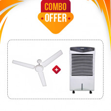 VEGO ABS PLASTIC ATOM AND EVAPORATIVE 6 L  AIR COOLER + CROMPTON SEA BREEZE 1200 MM 3 BLADE CEILING FAN