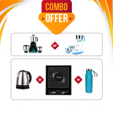 Butterfly Platinum 2.O Induction Stove + Sowbaghya Breeze 500 Watts Mixer Grinder (or) Pigeon Glory 550 W Mixer Grinder + Freshome SS Kettle K18 1.8ltr + Butterfly Flask