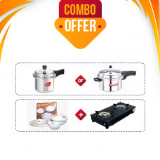 Sowbaghya Compact 2 Burner Glass Top Gas Stove + Sowbaghya Pressure Cooker 3 Ltrs (or) Pigeon Favourite Pressure Cooker 3 Ltr + Thangam Gift Dinner Set 24 Pcs