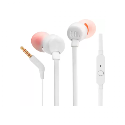 JBL T110 In-Ear Headphones with Mic (White)