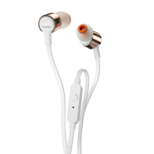JBL T210 Pure Bass in-Ear Headphones with Mic (Rose Gold)